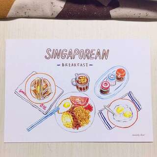 Singaporean breakfast postcard
