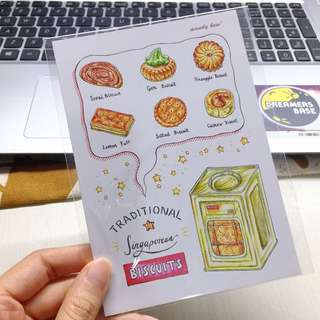 Traditional singaporean biscuits postcard