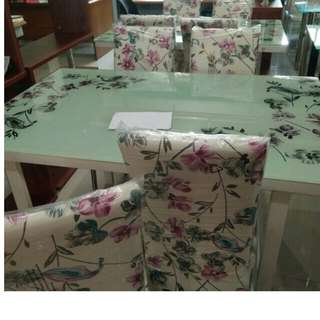 dining set floral print leather