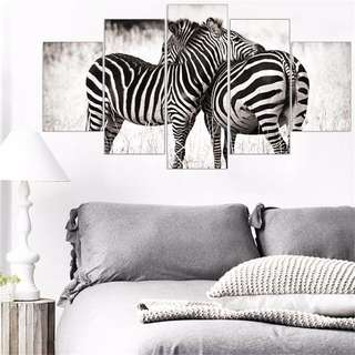 5 PIECE ZEBRA CANVAS