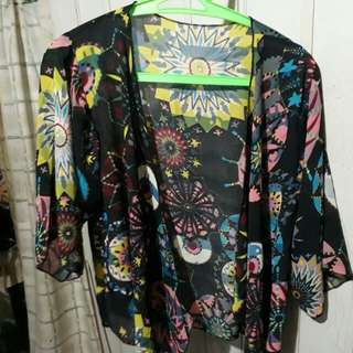 Floral mesh cover up/blazer