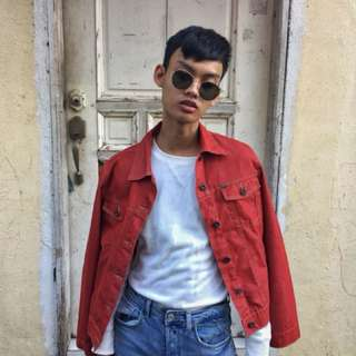 Cherry-red denim jacket