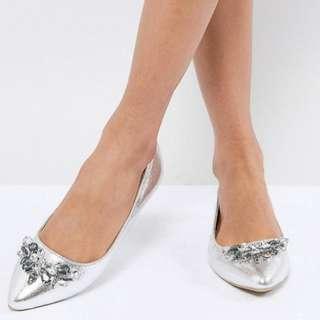 BN Oasis Embellished Pointed Ballerina Shoes