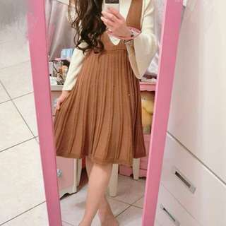 🚚 正韓洋裝,駝色針織連身裙