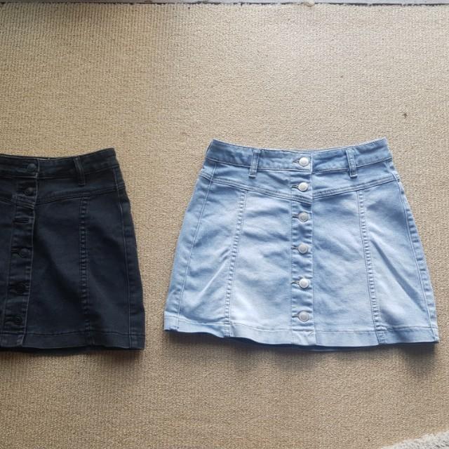 4 x xs/8 denim/skater skirt bundle