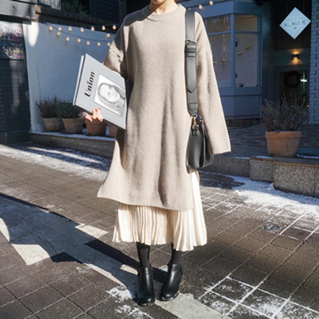 韓國長版針織寬鬆毛衣