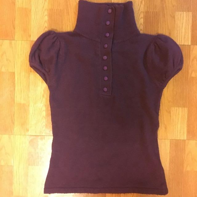 紫色高領釦公主袖毛衣