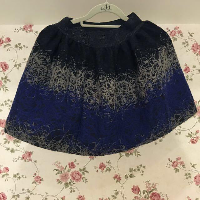 韓版毛紋幾何線條短裙
