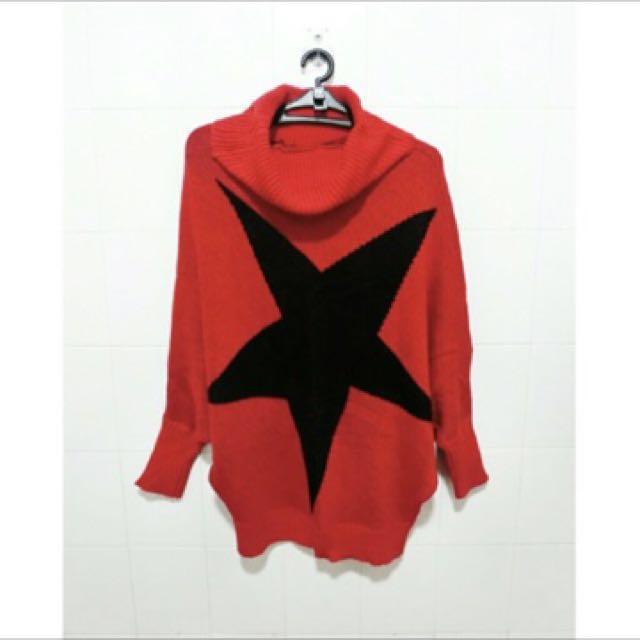 紅色星星 高領針織寬鬆上衣