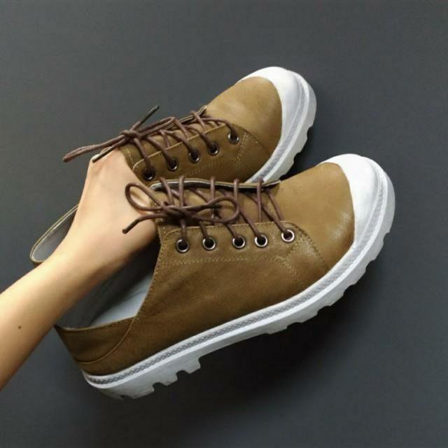 牛皮_兩穿可愛仿舊咖啡色系綁帶鞋