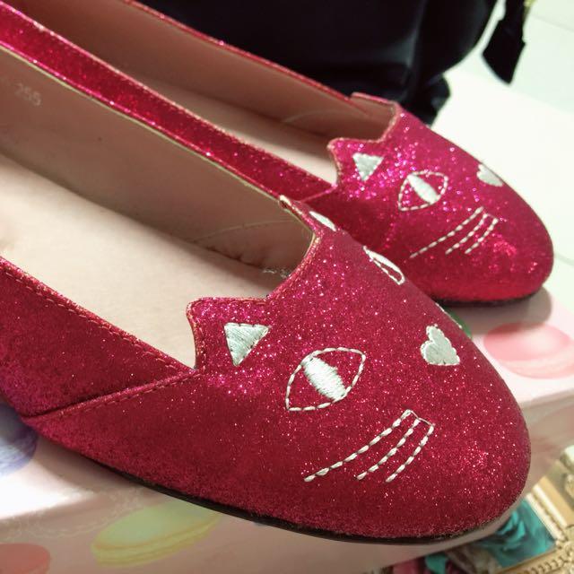 轉 GraceGift 可愛貓咪桃紅亮片娃娃鞋 39 40
