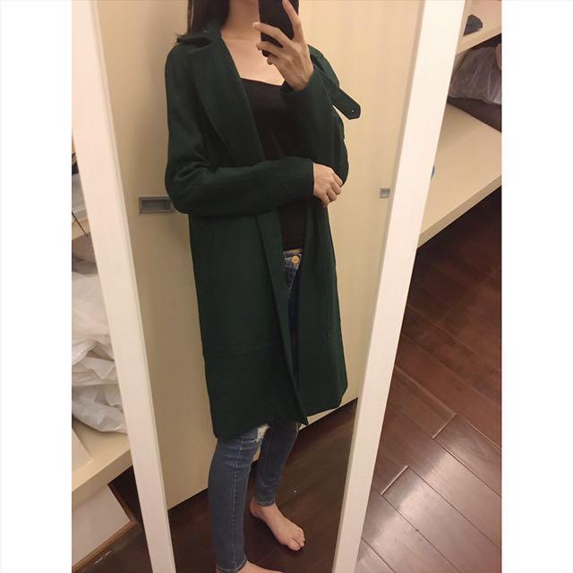 轉賣 starmimi 綠色長版大衣毛呢外套