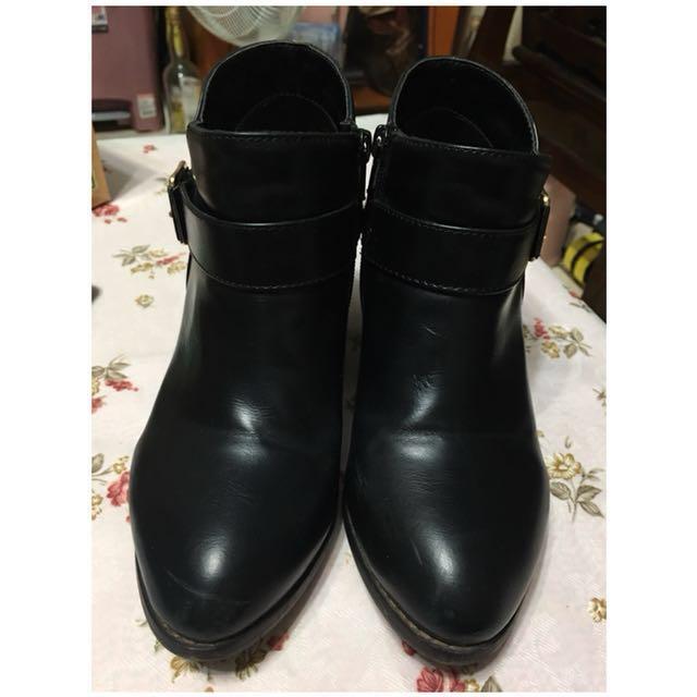 amai木跟黑色皮質高跟踝靴