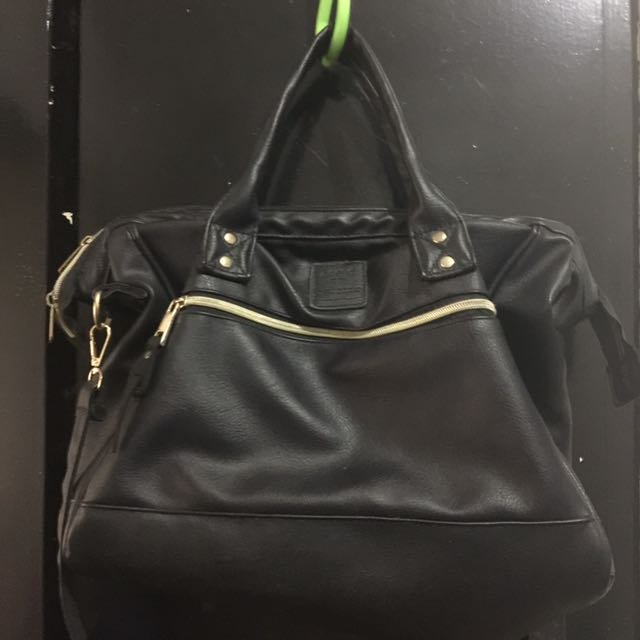 Anello Black Leather Handbag with Sling (Class A)