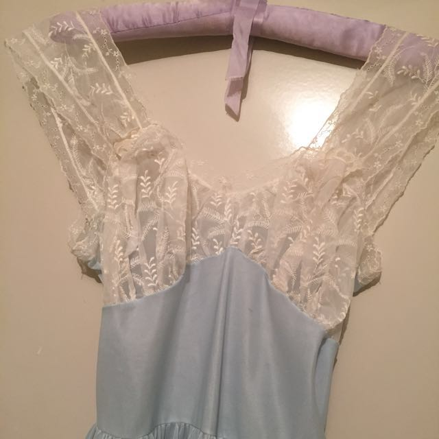 Baby Blue Vintage 40s 50s Boudoir Pin Up Dress Night Wear Lingerie