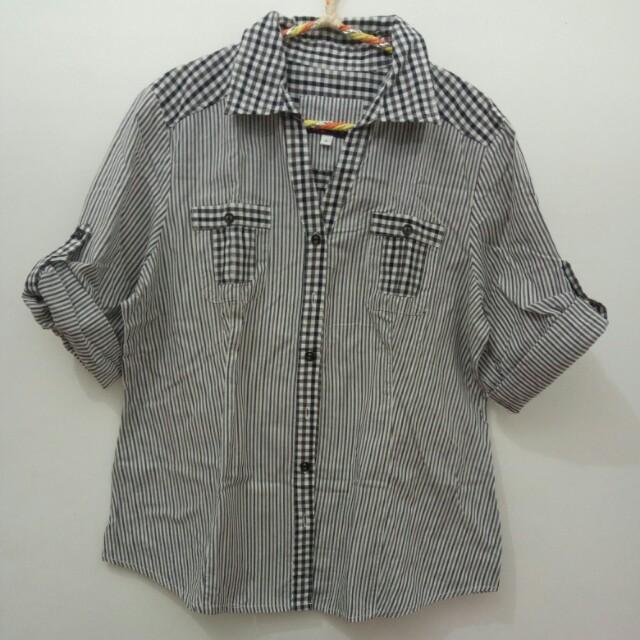 Black and white stripy checkerboard Shirt