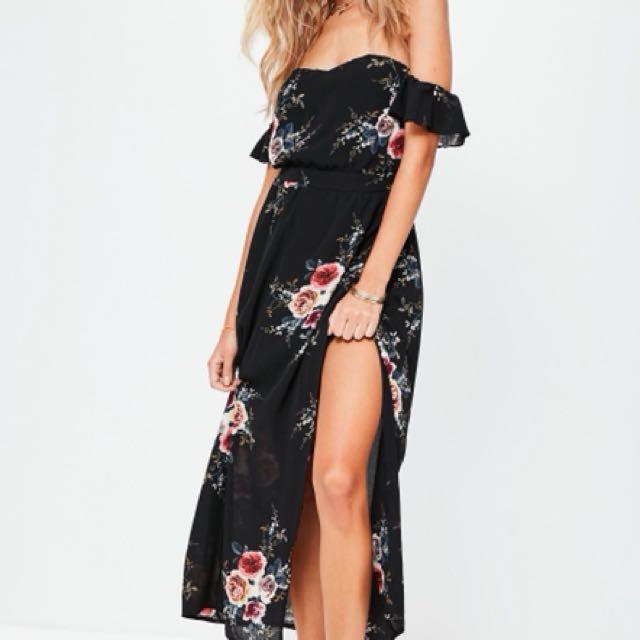 black Bardot floral maxi dress
