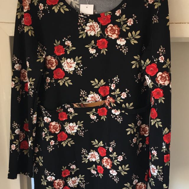 Black flower dress size 16