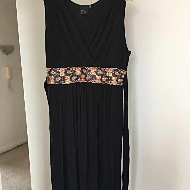 Black Maxi Dress - Sequin Embellished Size UK 20