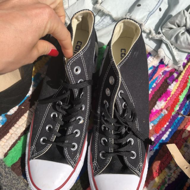Black platform converse shoes Size 9