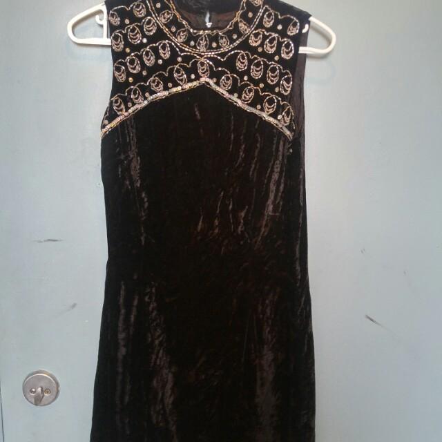 Black velvet fitted dress with bead detailing