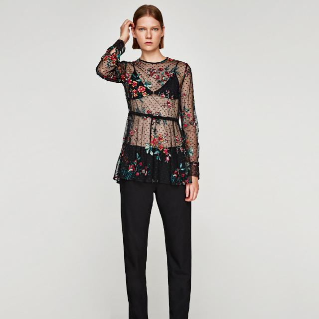 84c32deba9 BNWT Zara Embroidered Sheer Top