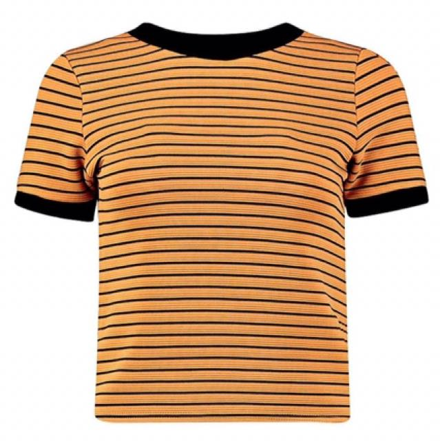 Boohoo mustard and black striped ringer tee