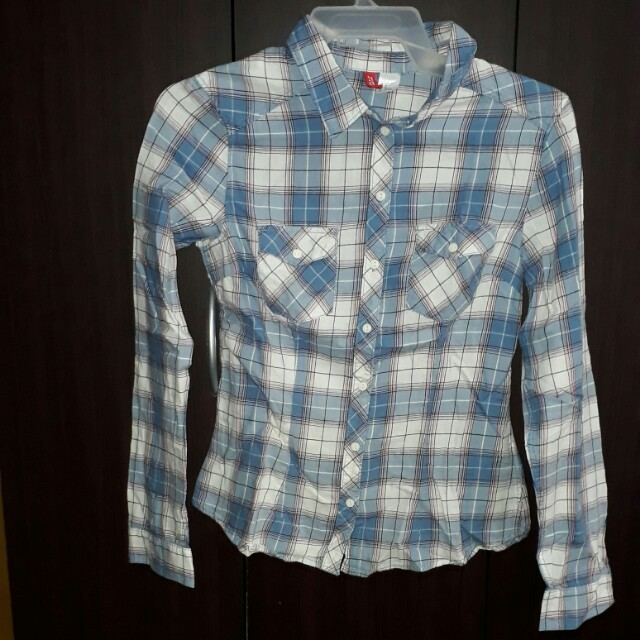 Checkered Polo long sleeves (blue & white)