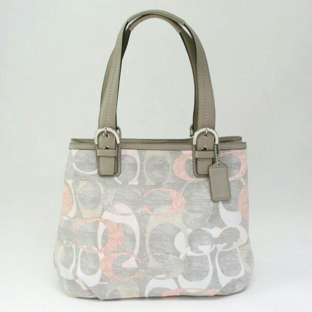 Coach Soho White, Grey, Peach Signature Linen Tote Shoulder Bag