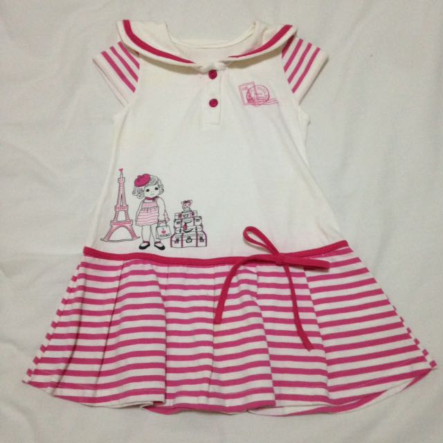 Cute Sailor Style Pink Striped Dress