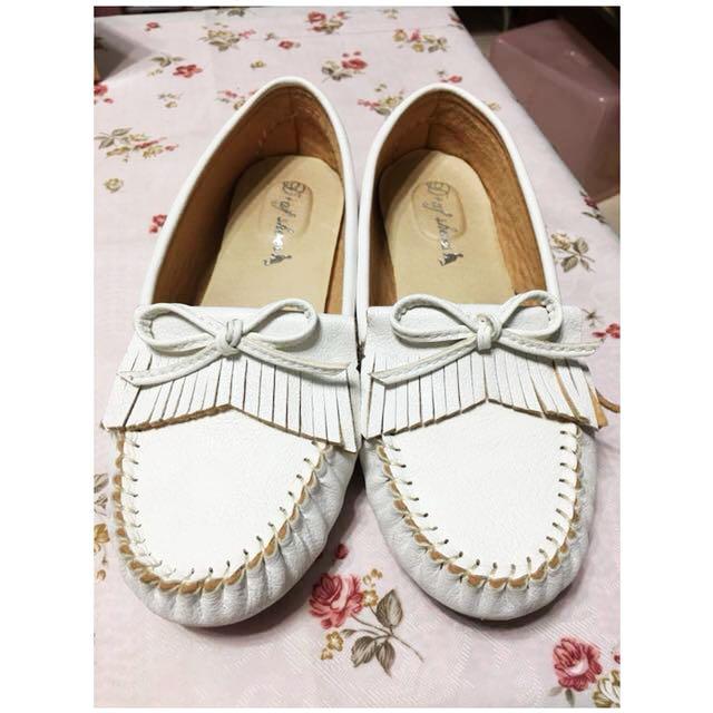D+af純白流蘇莫卡辛鞋(9成新含鞋盒)