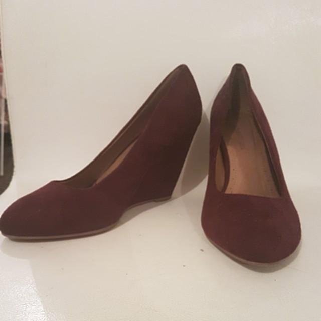 Dark purple suede feel wedge heels
