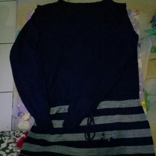 Dress Biru Dongker, Panjang Selutut Size S/M Bisa
