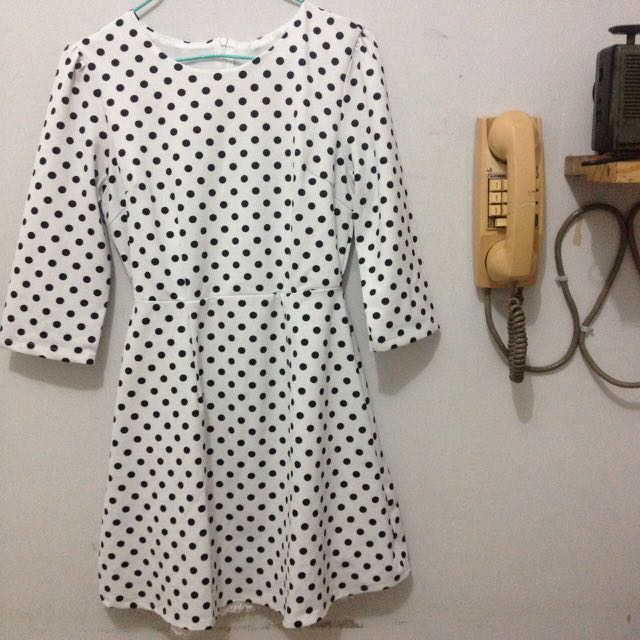 Dress polkadot/dress vintage/dress murah