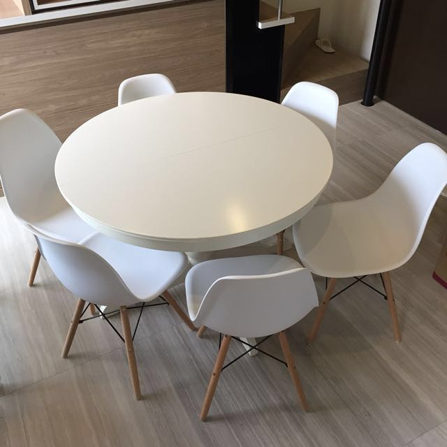 Extendable Ikea Dining Table With 6 Chairs Furniture Tables Chairs On Carousell