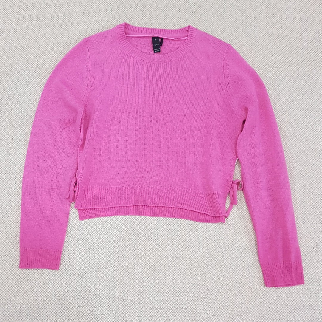 Factorie Sally Side Crop Top | Ribbon | Jumper | Knitted Sweater ...