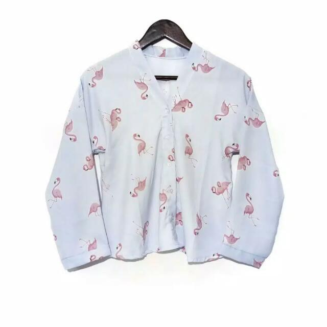 Flamingo Simple Shirt Baby Blue
