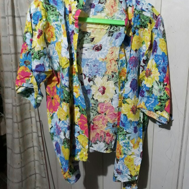 Floral cotton cover-up/blazer