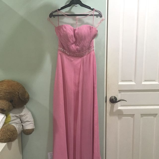 Formal pink long gown with sheer cup sleeves