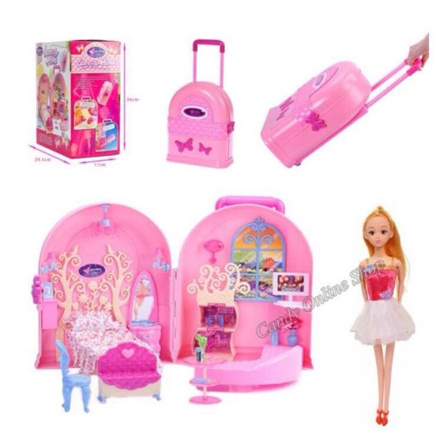 Full House Sweet Girl Play Doll House Toy Set In A Luggage Babies