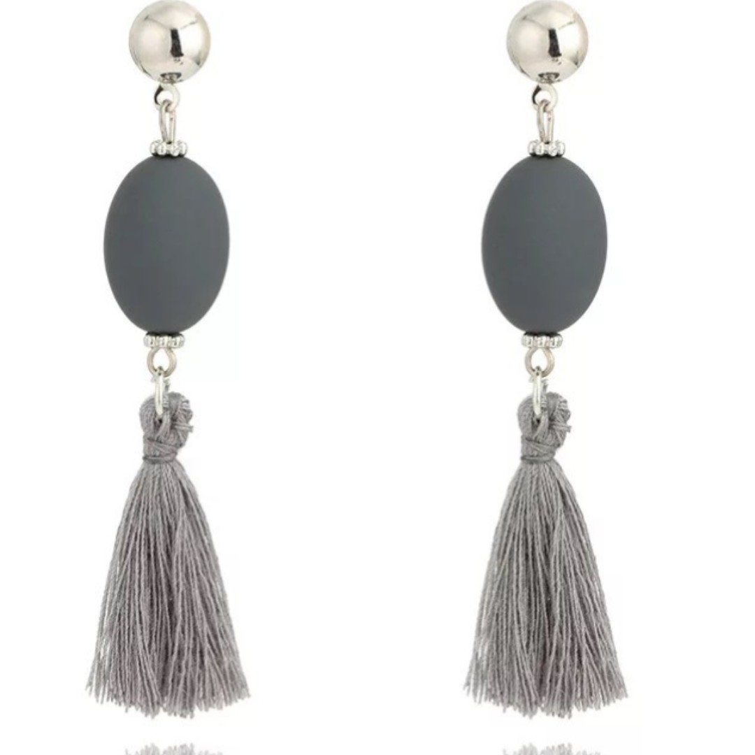Gray Tassel Earrings with silver studs