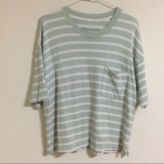 GU淺綠條紋衣