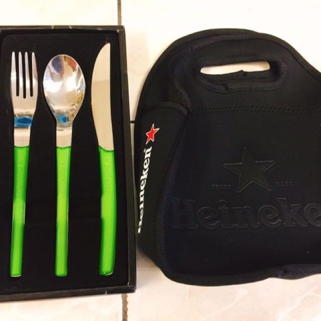 [商品名稱]#全新Heineken刀茶湯匙3件組+logo手提保冷/溫袋(2組一起賣