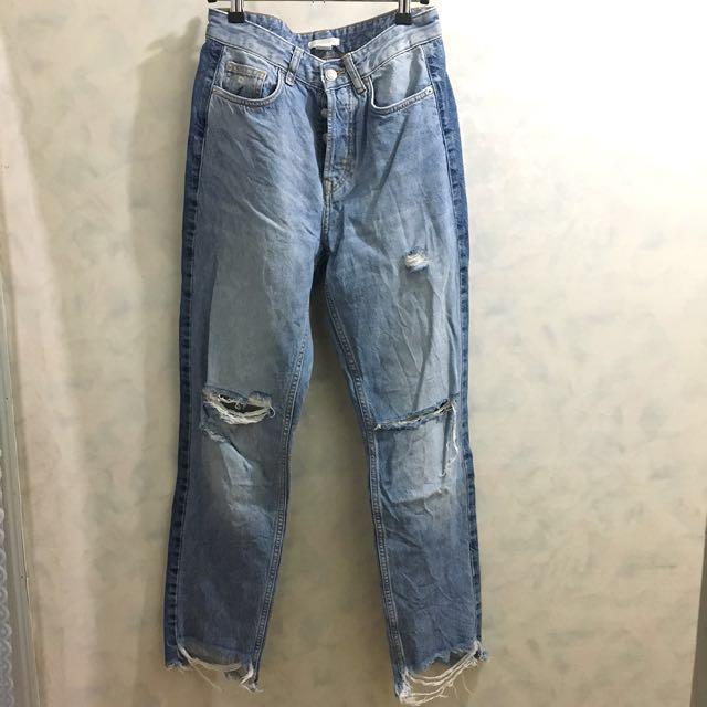 H&M牛仔高腰直筒破褲