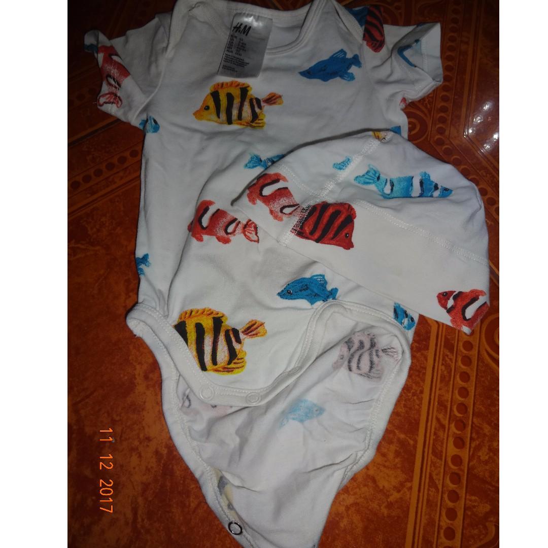 H&M baby boy onesie and hat bundle