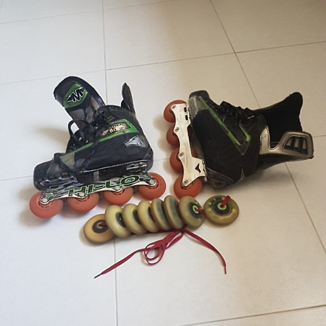 Inline hockey skates US size 8.0 Mission T6 model comes with extra set of wheels