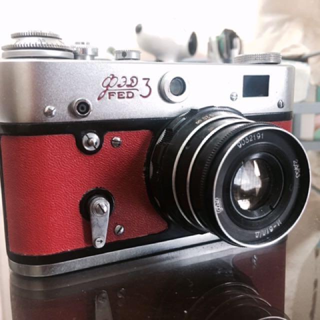 LOMO FED 3 古老蘇聯機 二戰後製造 原裝皮套 35mm 底片相機 稀有奧運紅 二手相機