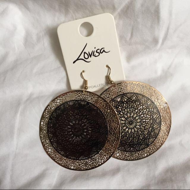 Lovisa black and gold statement earrings