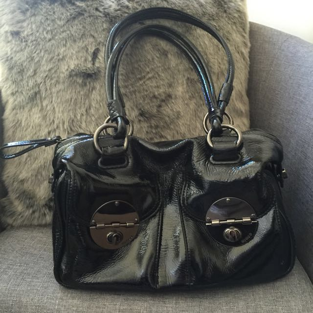 Mimco Patent Turnlock Bag