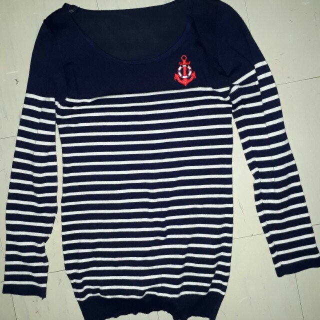 Nautical stripes knitted pullover